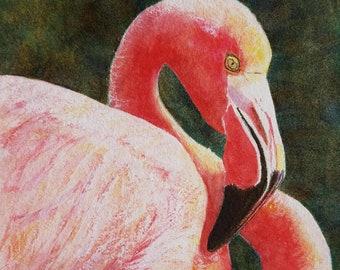 Flamingo Print, Flamingo Painting, Flamingo Wall Art, Flamingo Watercolor, Beach Decor, Coastal Decor, Flamingo Decor, Coastal Art, Bird Art