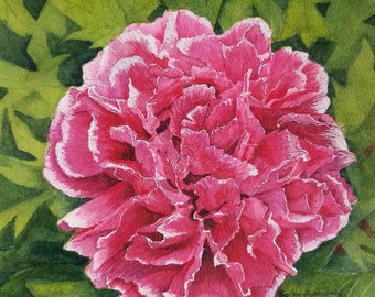 Flower Painting, Flower Print, Flower Watercolor, Pink Peony Painting, Pink Flower Art, Peony Wall Art, Flower Art, Pink Flower Print