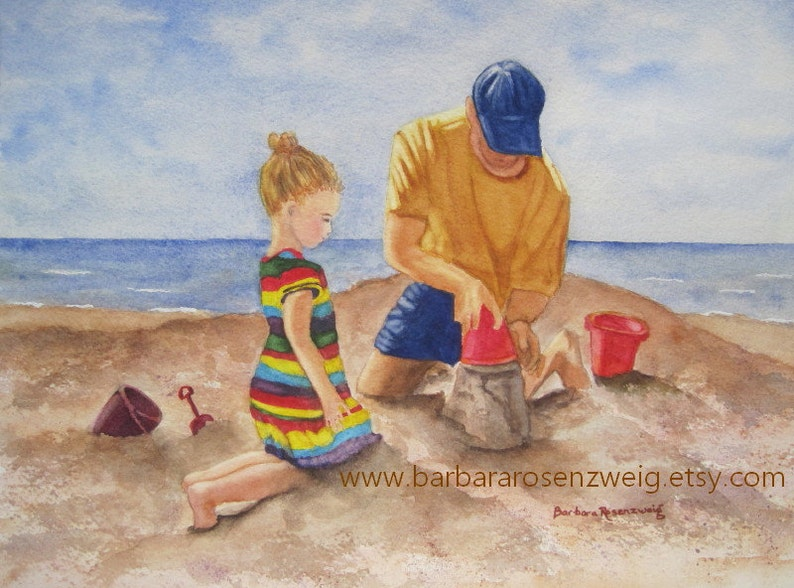 Dad Daughter Beach Painting Dad Gift Coastal Wall Art Beach image 0