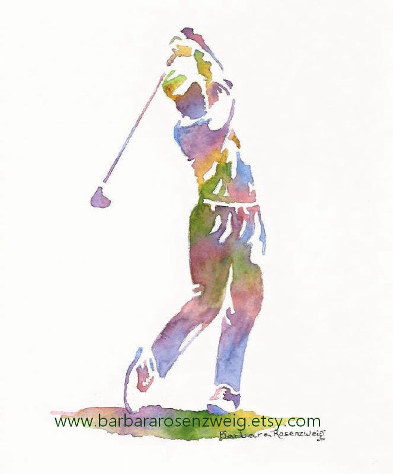 Golf Watercolor Painting Golf Print Dad Gift Sport Print image 0