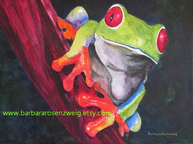 FROG PAINTING frog print canvas art watercolor art red image 0