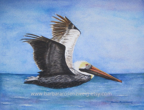Pelican Print Pelican Painting Pelican Wall Art Nautical | Etsy