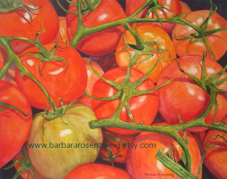 Tomato Watercolor Painting Kitchen Art Vegetable Print image 0