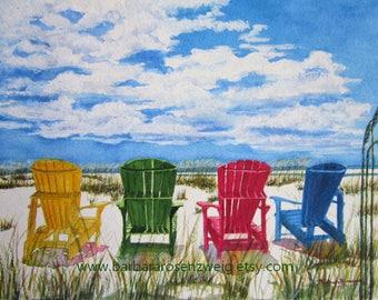 Beach Print, Beach Art, Nautical Art, Coastal Decor, Beach Chair Print, Beach Painting, Beach Watercolor, Beach Home Decor Art, Beach Gift