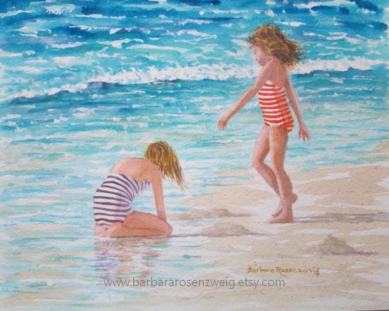 Coastal Decor Beach Sister Watercolor Painting Anna Maria image 0