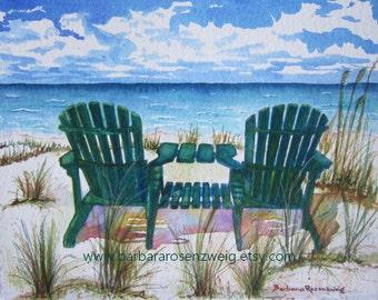 Beach Painting, Beach Chair Art Print, Beach Decor, Beach Art Print, Beach Watercolor, Seashore Decor, Adirondack Chair Art, Beach Wall Art