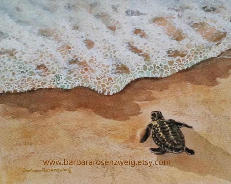 Cute Turtle Baby Watercolor Painting Baby Turtle Print Beach image 0