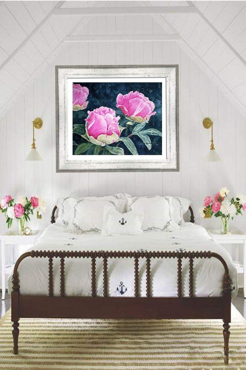 Flower Housewarming Gift Peony Birthday Gift for Her Canvas Print Pink Peony Watercolor Painting Flower Wall Art Flower Home Decor
