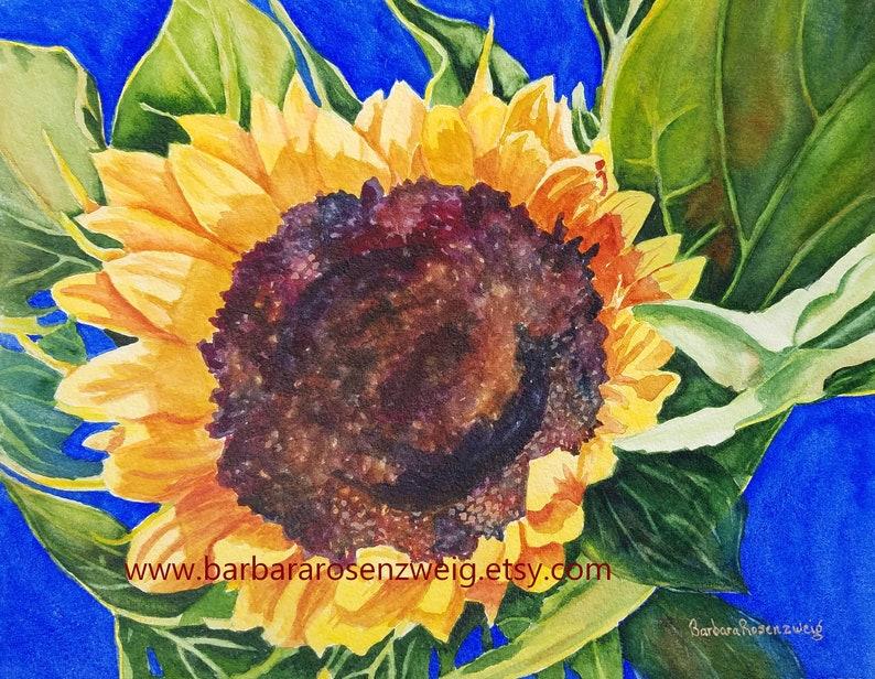 Sunflower Painting Sunflower Print Sunflower Wall Art image 0
