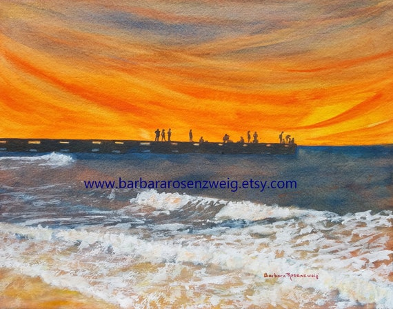 Sunset Island Watercolor Painting