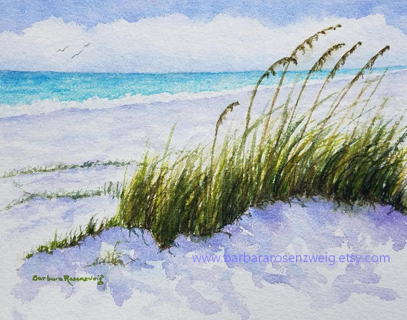Beach Sand Dunes Print Watercolor Painting Anna Maria Island image 0