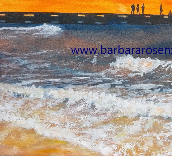 Beach Home Decor Coastal Art Print Canvas Print Sunset Beach Pier Watercolor Painting Coastal Decor Anna Maria Island Sunset Wall Art