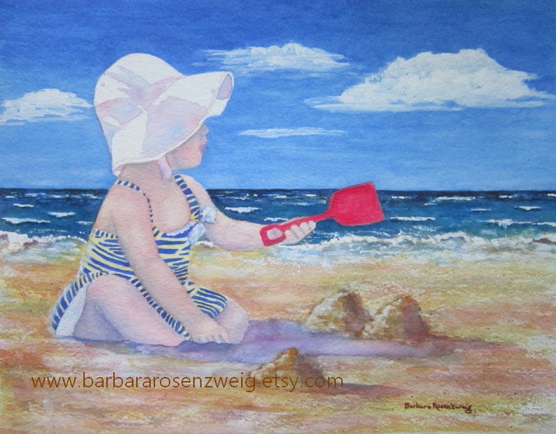 Beach Girl Painting Beach Print Beach Wall Art Coastal Art image 0