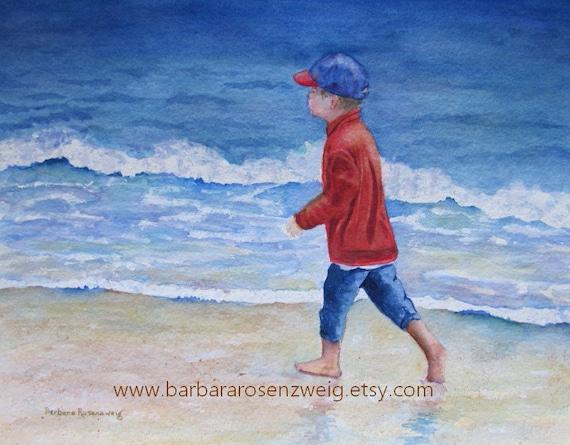 Beach Boy Print Coastal Watercolor Painting Beach Wall Art Child Room Decor Beach Nursery Decor Birthday Gift For Him Baby Shower Gift