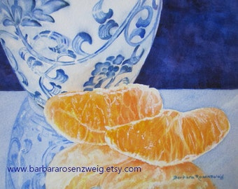 Blue Vase Print, Fruit Print, Oranges Art Print, Ming Vase Painting Kitchen Decor Fruit Still Life Watercolor Painting Chinese Kitchen Decor