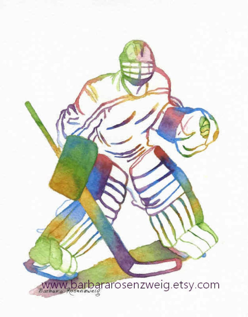Ice Hockey Goalie Art Hockey Art Print Olympic Athlete Sport Etsy