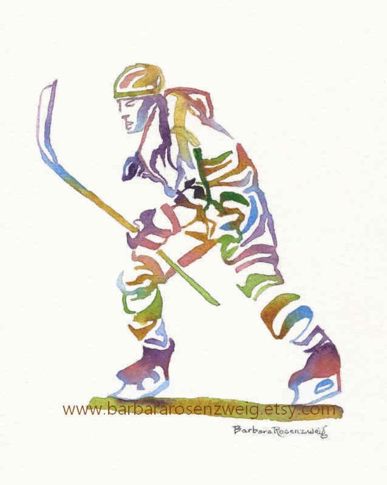 Ice Hockey Print Hockey Wall Art Dad Gift Hockey Painting image 0