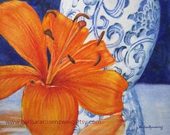 Ming Vase Print, Ginger Jar Wall Art, Flower Print, Flower Painting, Flower Watercolor Kitchen Home Decor Chinese Vase Art Lily Flower Print