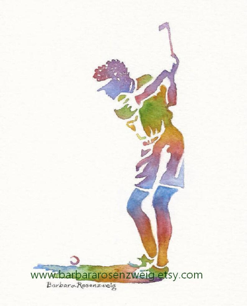 Girl Golfer Golfer Watercolor Girl Golfer Golfer Print image 0