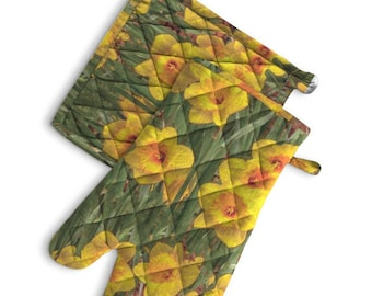 Oven Mit and Square Pot Holders, Daffodil Print