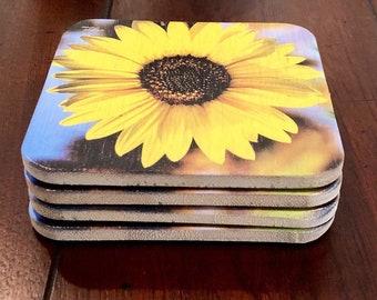 Sunflower Coaster Set, Wedding Gift, Bar Coaster