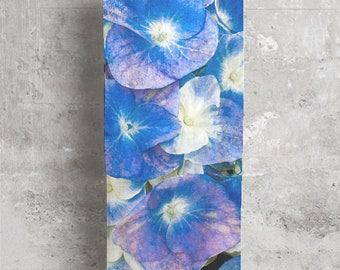 Blue Floral Scarf, Blue Scarf, Long Scarf, Womens Scarf, Cashmere Blend Scarf