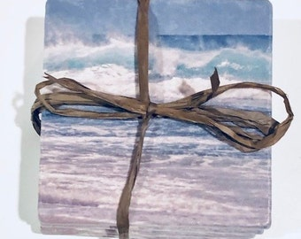Stone Coaster Set, Beach Print, Beach Decor