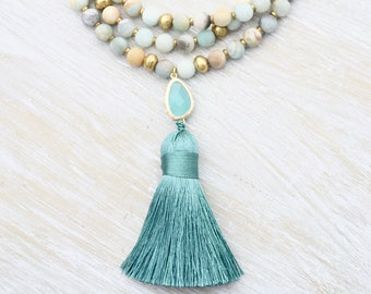 Amazonite Tassel Necklace, Boho Style Necklace, Handmade Beaded Necklace, Mint Green Necklace, Light Blue Stone Necklace, Gemstone Necklace