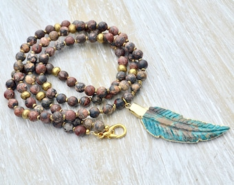 Turquoise Leaf Necklace, Long Beaded Brown Necklace, Leopard Skin Jasper  Necklace, Gold Ethiopian Beads, Very Long Gemstone Necklace,