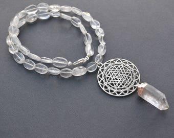 Sri Yantra Necklace, Raw Quartz Crystal Point, Beaded Quartz Crystal Necklace, Meditation Necklace, Geometric Necklace, Quartz Beads