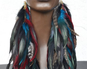 Real Feather Earrings, Black Red and Turquoise Feathers, Very Long Earrings, Big Earrings, Statement Earrings, Bohemian Jewelry, Boho