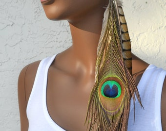Bohemian Jewelry | Long Peacock Feather Earring | Pheasant and Peacock Single Feather Earring | Tan Feather Earring | Boho Jewelry | Natural
