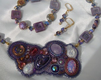 Purple Bead Embroidered Necklace Bracelet and Earrings