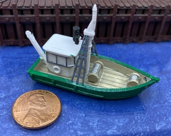 Trawler Fishing Boat Handcrafted From English Pewter Lapel Pin Badge Gift Bag