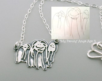 Kid Drawing necklace - Sterling Silver Child Artwork Drawing Necklace - Child drawing - Custom Art Necklace - Silver Child Drawing Necklace