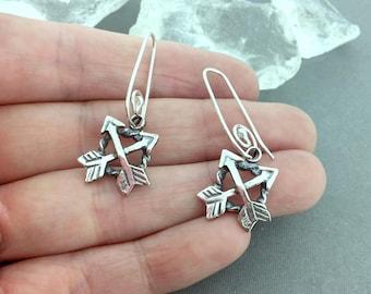 Day 7 - Two Arrow Drops - Sterling Silver Earrings