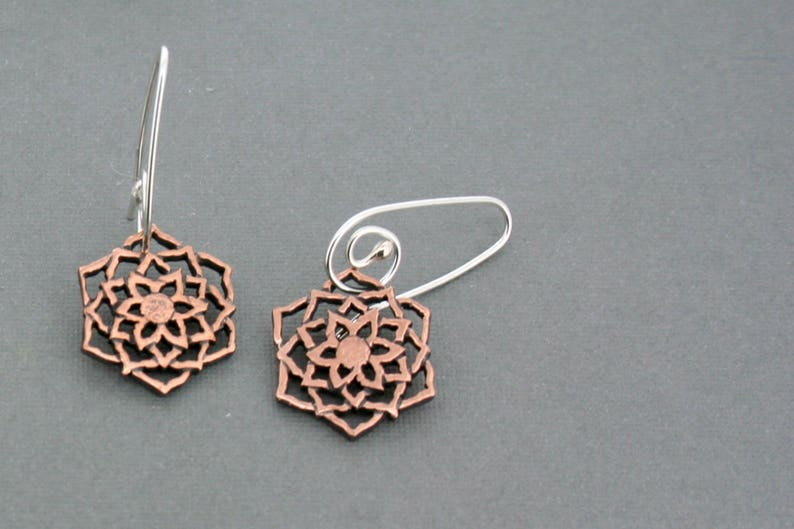 Copper Sunflower Drops on Sterling Silver Wires