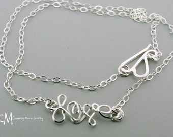 Silver Love Necklace - The Word Love Silver necklace - Handmade Silver Chain Necklace