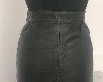 80's Vintage Black Leather Pencil Skirt