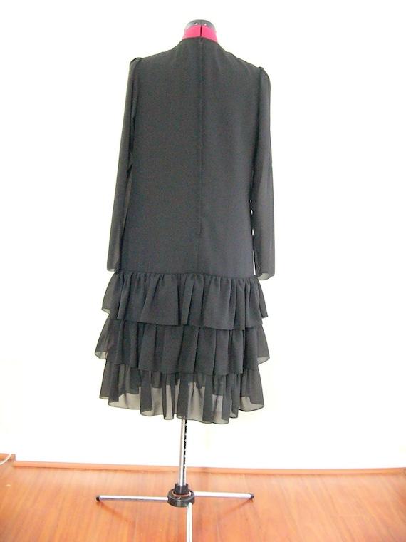 80's Black Flapper Evening Dress with Ruffled Ski… - image 3