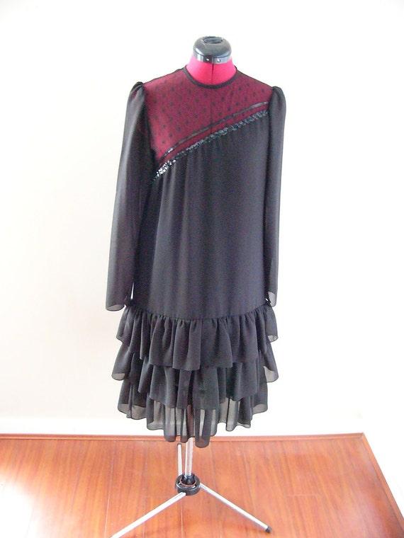 80's Black Flapper Evening Dress with Ruffled Skir