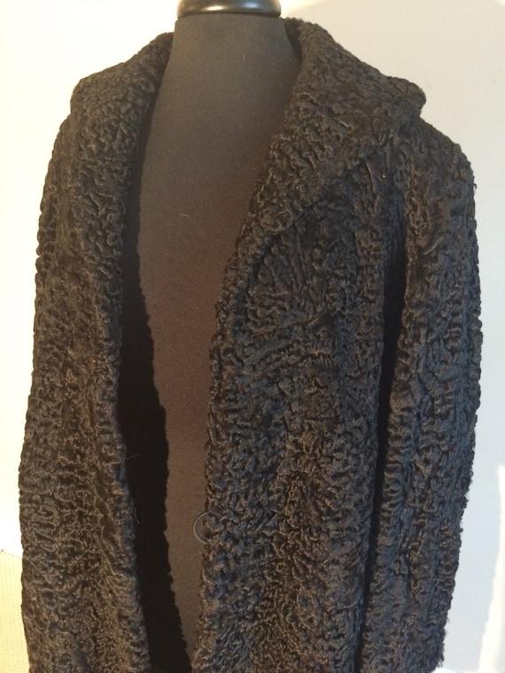 50's Black Long Wool Swing Coat