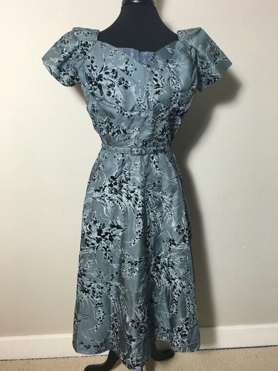 50's Blue Floral Print Dress