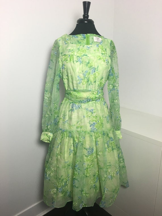 70's Green Floral Print Chiffon Dress