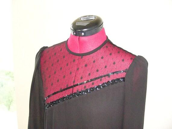 80's Black Flapper Evening Dress with Ruffled Ski… - image 2