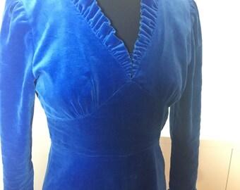 70's Blue Velvet Maxi Dress