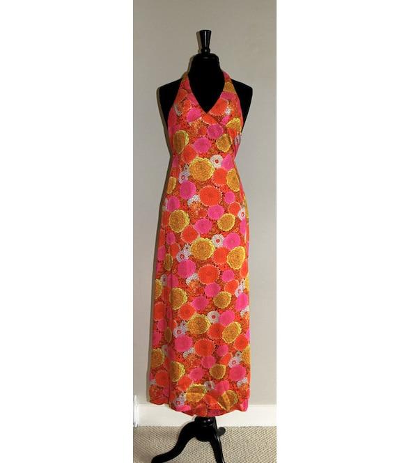 70's Floral Halter Maxi Dress