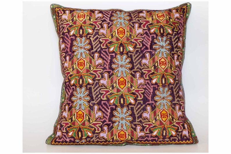 Pure silk   Uzbek suzani pillow,full stitching Embroidered Pillow,Home Decor pillow Boho pillow,Tapestry pillow 16.5 x 16.5 inch