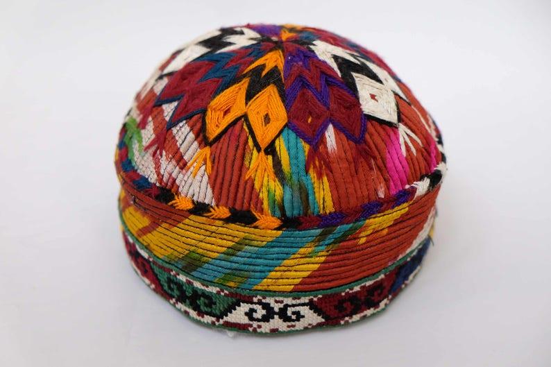 Antiques Uzbekistan Collection Handmade Embroidered Kids Skullcap Uzbek Surkhan-darya Hat Embroidery