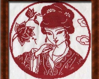 Chinese girl in red - Cross stitch pattern